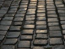 特写镜头湿鹅卵石的街道 库存照片