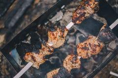 特写镜头烤肉在格栅的猪肉shashlik本质上 库存图片