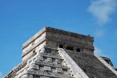特写镜头玛雅金字塔顶层 免版税图库摄影