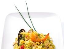 特写镜头盘典型肉菜饭的西班牙语 免版税库存图片