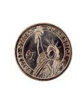 特写镜头硬币美元金子一盯梢我们 库存照片