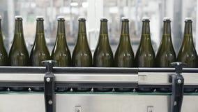 特写镜头绿色瓶移动沿着传动机线在香槟或酒的工厂 股票视频