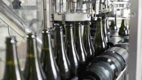 特写镜头绿色瓶移动沿着传动机线在香槟或酒的工厂 股票录像