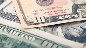特写镜头美国金钱二十美金 亚历山大・汉密尔顿画象,美国10美元钞票片段宏指令 库存图片