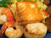 特写镜头肉菜饭西班牙语 免版税图库摄影
