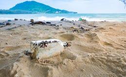 特写镜头草瓶和很多被堆积的垃圾在岸 免版税库存图片