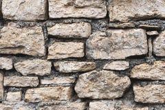 特写镜头被构造的背景是一个不规则的自然石墙由不同的石头做成没有水泥型的接合 免版税图库摄影