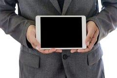 特写镜头视图企业队工作用途使用数字式片剂个人计算机 免版税库存照片