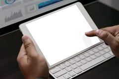特写镜头视图企业队工作用途使用数字式片剂个人计算机 库存图片