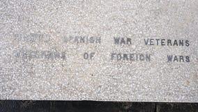 特写镜头视图战争纪念碑致力所有战争的死者在退伍军人纪念庭院,达拉斯,得克萨斯的 库存照片