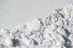 特写镜头雪表面和纹理在地面,被构造的雪白色背景 免版税库存图片