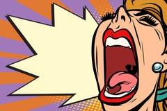 特写镜头面孔流行艺术妇女叫喊的愤怒 皇族释放例证