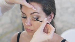 特写镜头顶视图播种了框架,有一把刷子的化妆师梳客户的长的厚实的睫毛的睫毛的 最终 股票视频