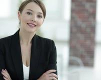 特写镜头 一个成功的女商人的面孔 免版税库存照片