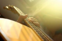 特写镜头 声学吉他 免版税库存照片