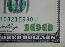 特写镜头$ 100票据  图库摄影