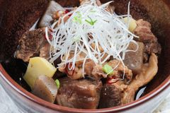 特写镜头Nikujaga包括牛肉,土豆和萝卜炖顶部用切的萝卜和薤在棕色陶瓷碗在makisu 图库摄影