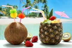 在海滩的夏天鸡尾酒椰子和菠萝 免版税图库摄影