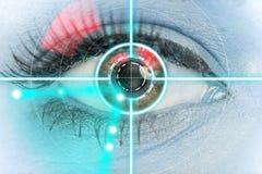 特写镜头与激光医学的妇女眼睛 免版税库存照片