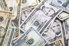 特写镜头五颜六色的美国现金票据 库存图片