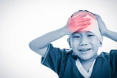 特写镜头伤害行程肌肉痛赛跑者连续体育运动弄脏大腿涉及 有顶头痛苦的cryin的创伤的亚裔孩子 免版税库存照片