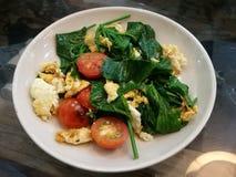 特写镜头健康混乱油炸物清洗您的身体和形状的菜用蕃茄和鸡蛋饮食的和戒毒所 库存图片