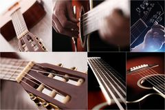 特写镜头吉他构造二木头 免版税库存图片