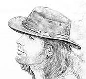 特写镜头在牛仔帽的人画象 样式徒步旅行队 方式例证 皇族释放例证