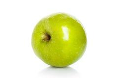 特写镜头在白色隔绝的绿色苹果演播室照片 免版税库存图片