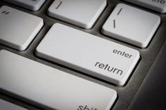 特写镜头在键盘输入键 免版税图库摄影