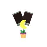 特写镜头在黄色月亮形状的钳位照片在与在与裁减路线的白色背景隔绝的黑空白的影片的花盆 库存图片
