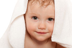 特写镜头女孩一点纵向毛巾白色 库存图片
