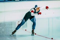 特写镜头女性速度溜冰者 免版税库存照片