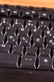 特写镜头宏观黑未使用的个人计算机键盘键 库存照片