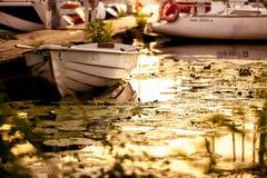特写镜头射击了o在荷花围拢的口岸的船小船 免版税图库摄影