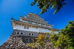 特写镜头岛原市城堡在长崎县,九州 图库摄影