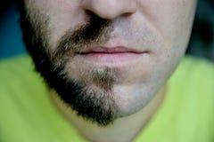 特写镜头有一半的portraite人刮了面孔胡子 免版税库存图片