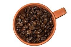 特写镜头杯子用被隔绝的咖啡豆 库存图片