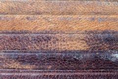 特写镜头棕色皮革钱包卡片槽背景 免版税库存照片