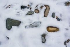 特写镜头石头和人的脚印与雪和冰在自然样式 免版税库存照片