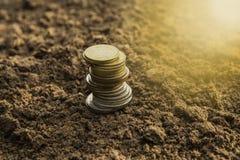 特写镜头硬币保存与堆金钱硬币的金钱概念为增长 库存照片