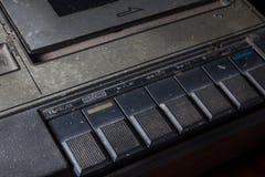 特写镜头老卡式磁带播放机 库存照片