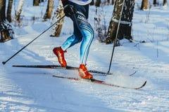 特写镜头腿滑雪者运动员冬天木经典样式 免版税库存图片