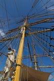 特写镜头细节詹姆斯克雷格帆柱和索具,三上了船桅ba 免版税图库摄影