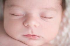 特写镜头被射击一张新出生的男婴的面孔 图库摄影
