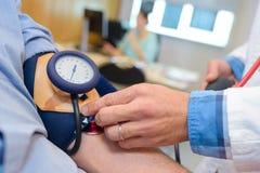 特写镜头被采取的血压 图库摄影
