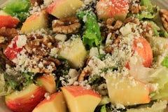 特写镜头观点的沙拉莴苣,苹果,核桃,希腊白软干酪 免版税库存图片