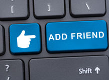特写镜头视图增加朋友按钮 免版税库存照片
