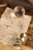特写镜头设备信函定位葡萄酒 库存照片
