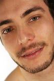 特写镜头面孔 英俊的人模型 免版税库存图片